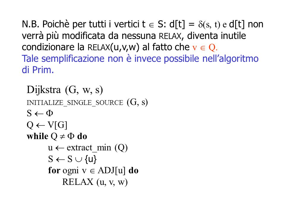 N.B. Poichè per tutti i vertici t  S: d[t] = (s, t) e d[t] non